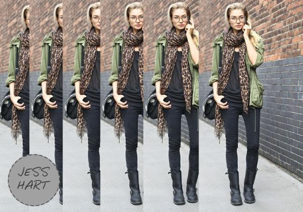 Jess Hart, Fashion, Leopard, Army Jacket, Grunge, Style