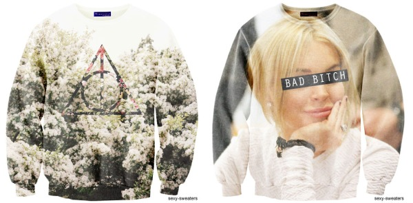 sexy sweaters, floral jumper, floral fashion, floral style, deathly hallows, lindsay lohan, lilo,