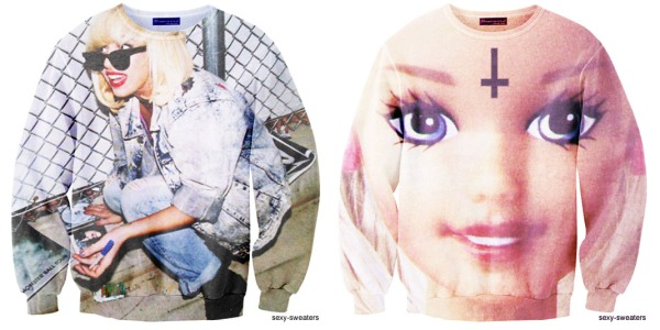 sexy sweaters, lady gaga, grunge style, barbie, cross