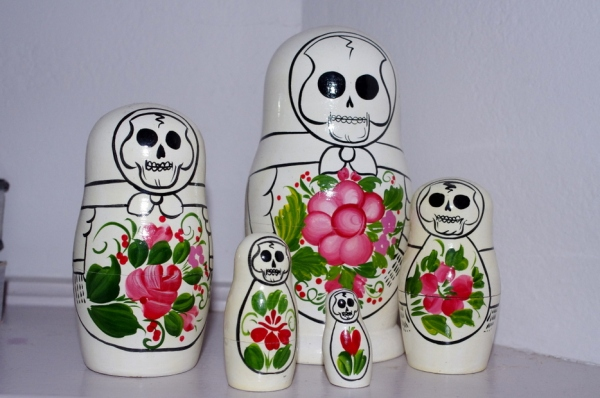 Babushka dolls, dolls, babushka, skulls, day of the day, home, interiors, Vauxlair, Sylve Colless, sydney, bondi, hipster