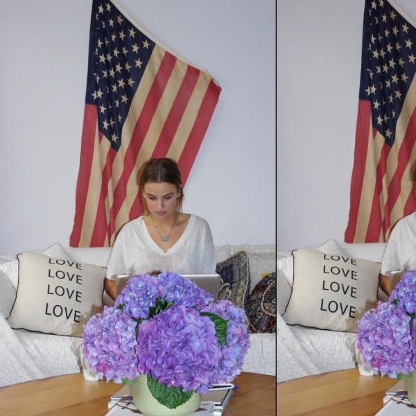 Vauxlair, Sydney, Bondi, Hipster, Home, Interiors, Cool, Rad, Awesome, Epic, Sylve Colless, american flag, flowers, purple flowers, love pillow, couch throw,